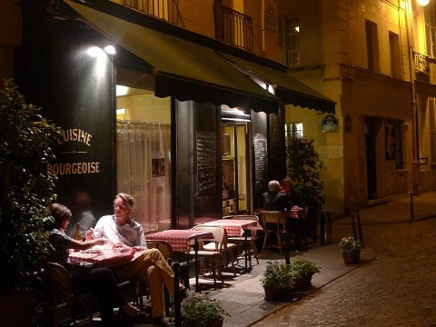 parisian cafe, night